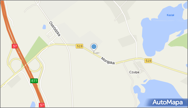 Małdyty, Morąska, mapa Małdyty