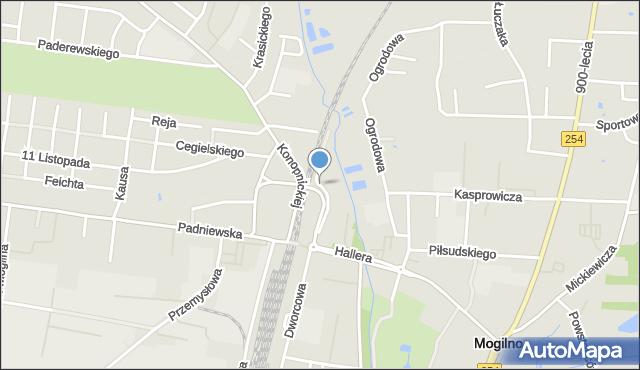 Mogilno, Mostowa, mapa Mogilno