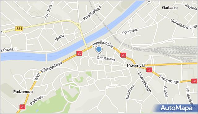 Przemyśl, Mostowa, mapa Przemyśla