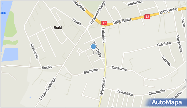 Radom, Modrzewiowa, mapa Radomia