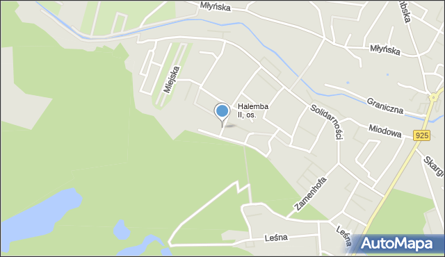 Ruda Śląska, Modrzewiowa, mapa Rudy Śląskiej