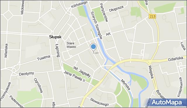 Słupsk, Mostnika Michała, mapa Słupska