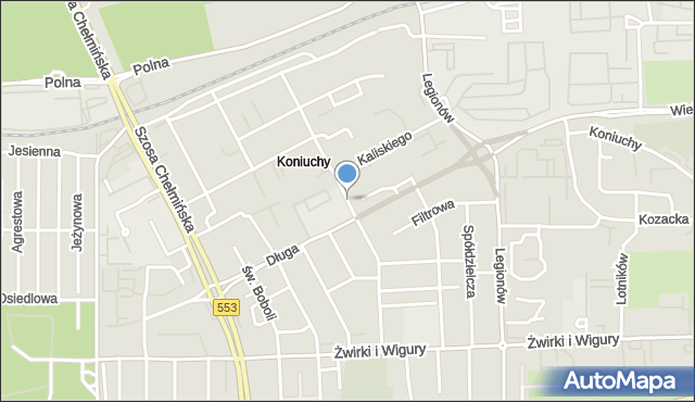 Toruń, Mohna Jana, mapa Torunia