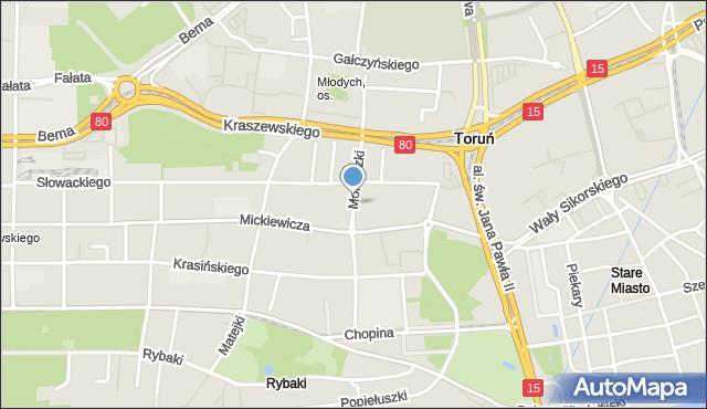Toruń, Moniuszki Stanisława, mapa Torunia