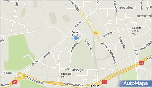 Toruń, Morcinka Gustawa, mapa Torunia
