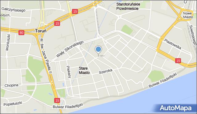 Toruń, Most Pauliński, mapa Torunia