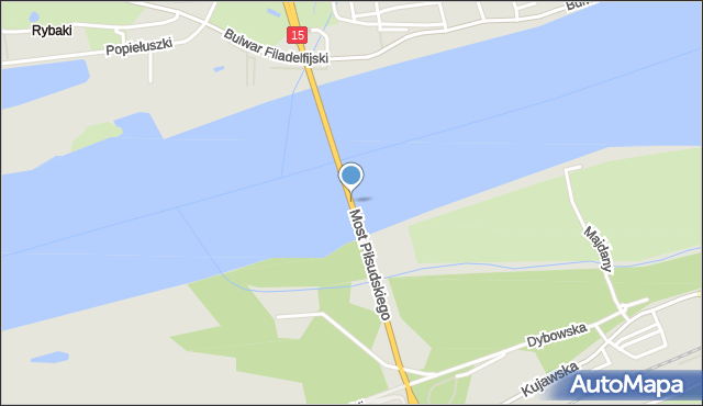 Toruń, Most Piłsudskiego Józefa, marsz., mapa Torunia