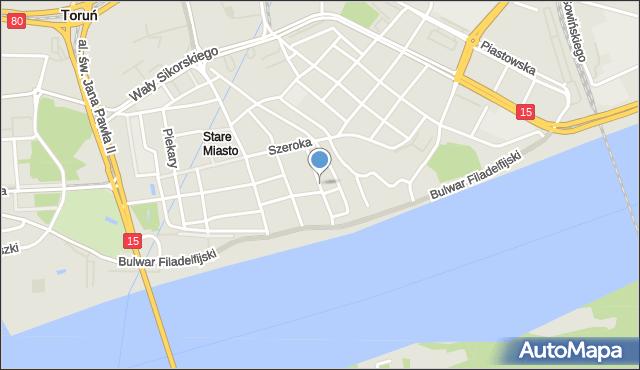 Toruń, Mostowa, mapa Torunia