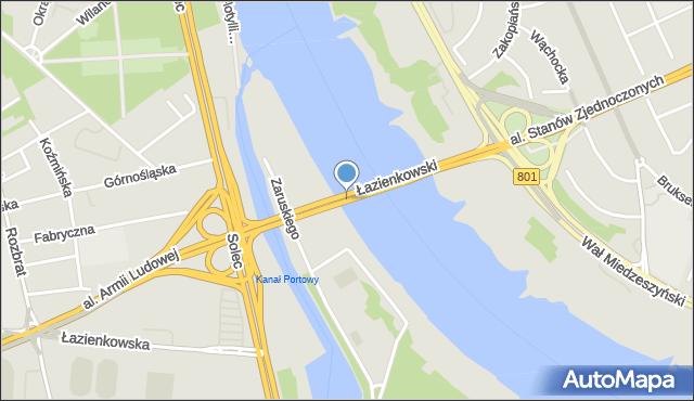 Warszawa, Most Łazienkowski, mapa Warszawy