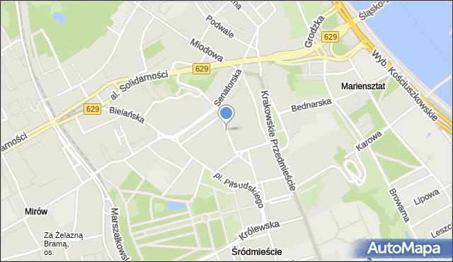 Warszawa, Moliera, mapa Warszawy