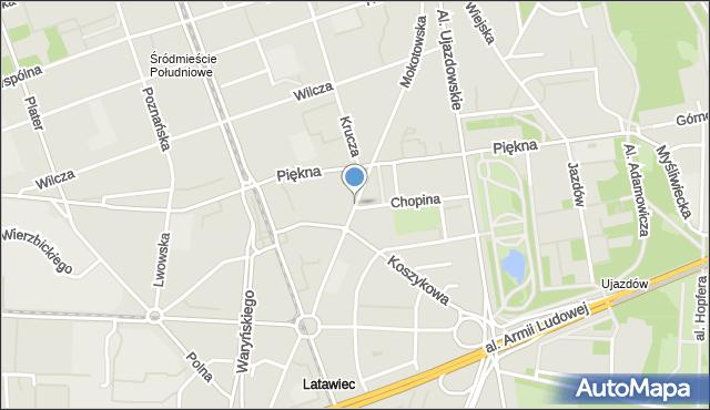 Warszawa, Mokotowska, mapa Warszawy