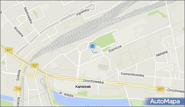 Warszawa, Modrzewskiego Andrzeja Frycza, mapa Warszawy