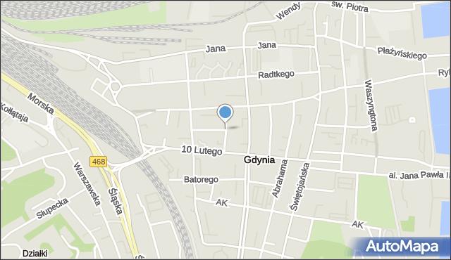 Gdynia, Mściwoja, mapa Gdyni