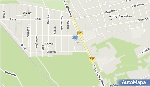 Toruń, Myśliwska, mapa Torunia