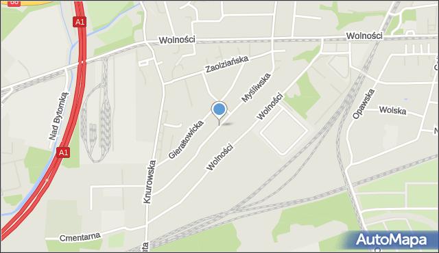 Zabrze, Myśliwska, mapa Zabrza