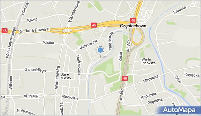 Częstochowa, Nad Wartą, mapa Częstochowy