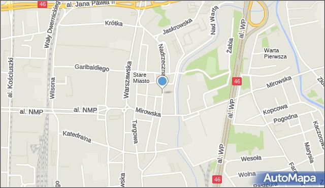 Częstochowa, Nadrzeczna, mapa Częstochowy