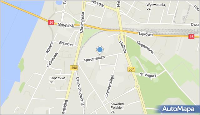 Grudziądz, Narutowicza Gabriela, mapa Grudziądza