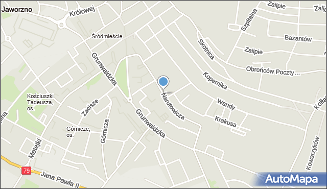 Jaworzno, Narutowicza Gabriela, mapa Jaworzno