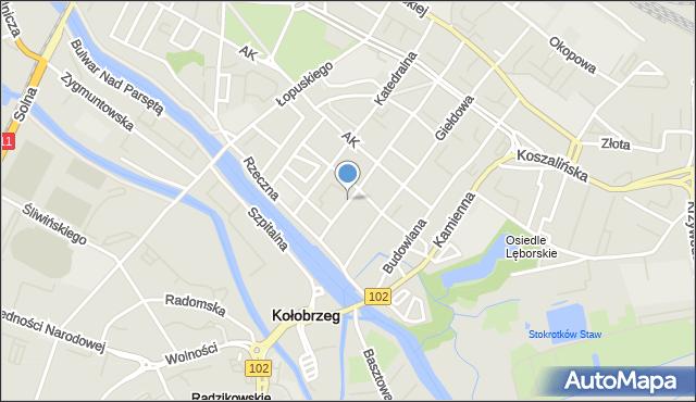 Kołobrzeg, Narutowicza Gabriela, mapa Kołobrzegu