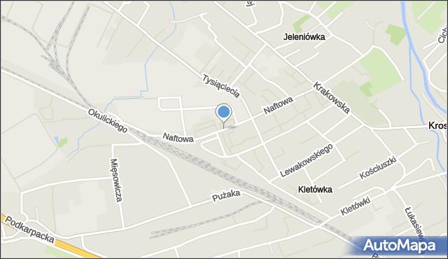 Krosno, Naftowa, mapa Krosna