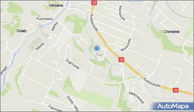 Limanowa, Narutowicza Gabriela, mapa Limanowa
