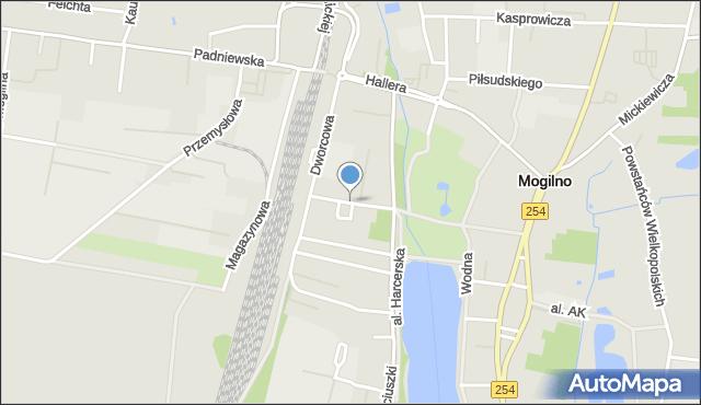 Mogilno, Narutowicza Gabriela, mapa Mogilno