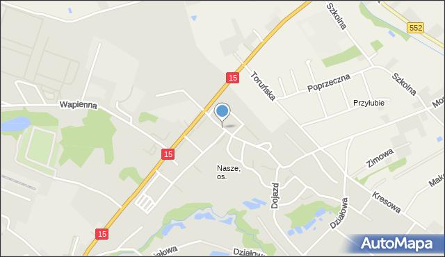 Toruń, Nad Strugą, mapa Torunia