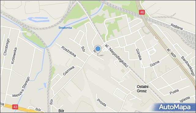 Częstochowa, Niewielka, mapa Częstochowy