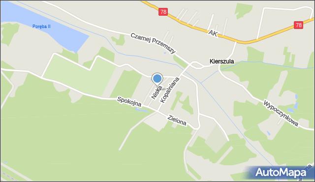Poręba powiat zawierciański, Niska, mapa Poręba powiat zawierciański