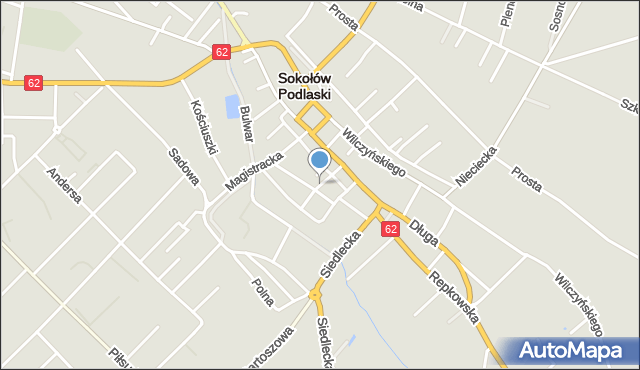 Sokołów Podlaski, Niecała, mapa Sokołów Podlaski