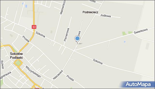Sokołów Podlaski, Nieciecka, mapa Sokołów Podlaski