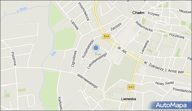 Chełm, Nowowiejskiego Feliksa, mapa Chełma