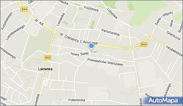 Chełm, Nowy Świat, mapa Chełma