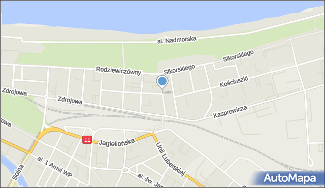 Kołobrzeg, Norwida Cypriana Kamila, mapa Kołobrzegu