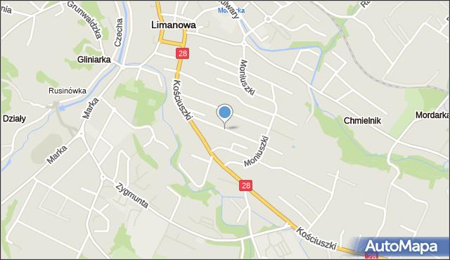 Limanowa, Nowa, mapa Limanowa