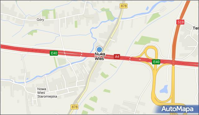 Nowa Wieś gmina Trzebownisko, Nowa Wieś, mapa Nowa Wieś gmina Trzebownisko