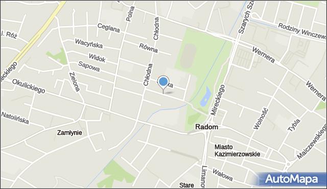 Radom, Nowospacerowa, mapa Radomia