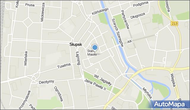 Słupsk, Nowobramska, mapa Słupska