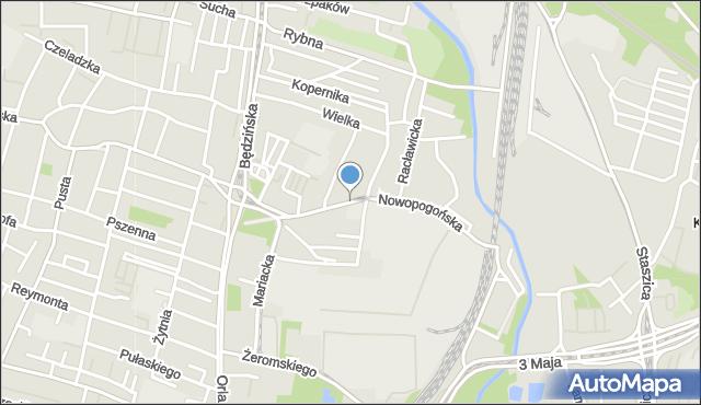 Sosnowiec, Nowopogońska, mapa Sosnowca