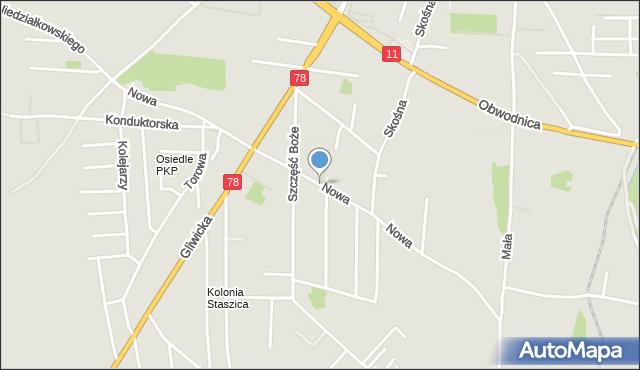 Tarnowskie Góry, Nowa, mapa Tarnowskie Góry