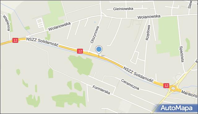 Radom, NSZZ Solidarność, mapa Radomia