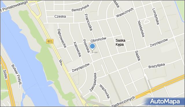 Warszawa, Nurska, mapa Warszawy