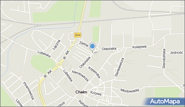 Chełm, Obłońska, mapa Chełma