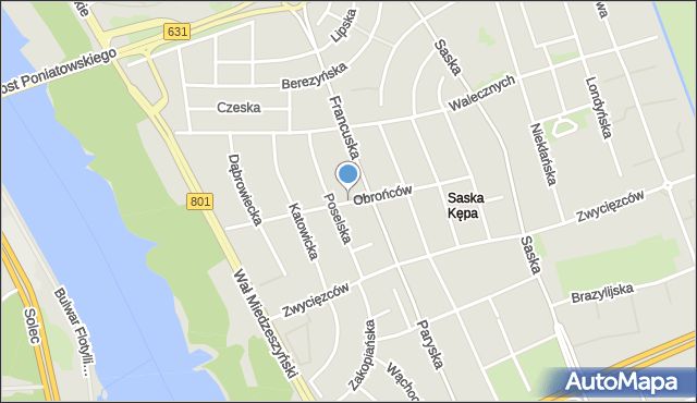 Warszawa, Obrońców, mapa Warszawy