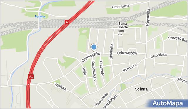 Gliwice, Odrowążów, mapa Gliwic