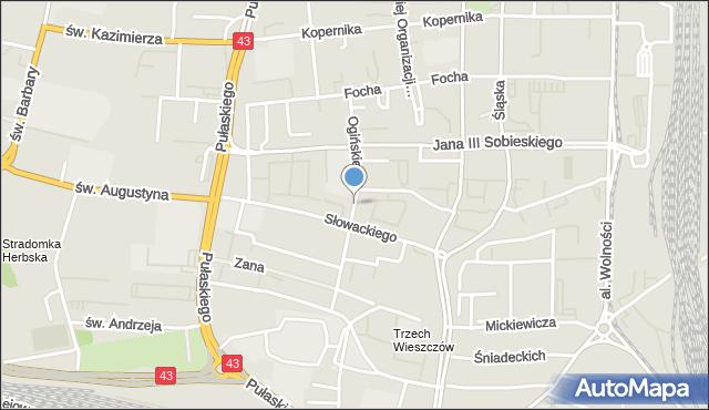 Częstochowa, Ogińskiego Michała Kleofasa, mapa Częstochowy