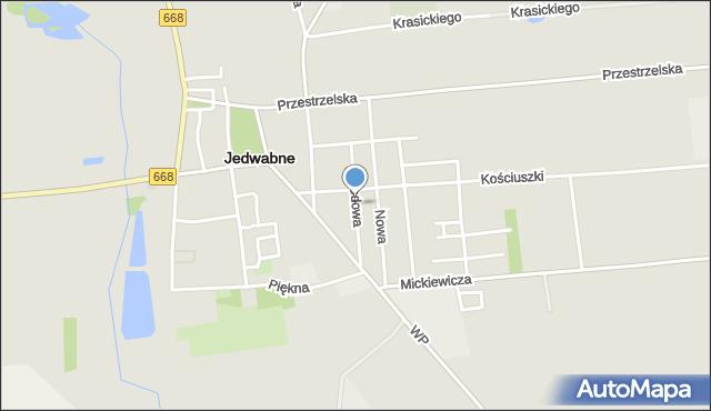 Jedwabne, Ogrodowa, mapa Jedwabne