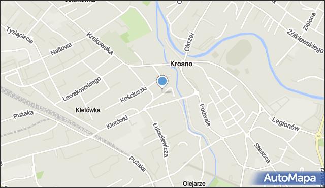 Krosno, Ogrodowa, mapa Krosna