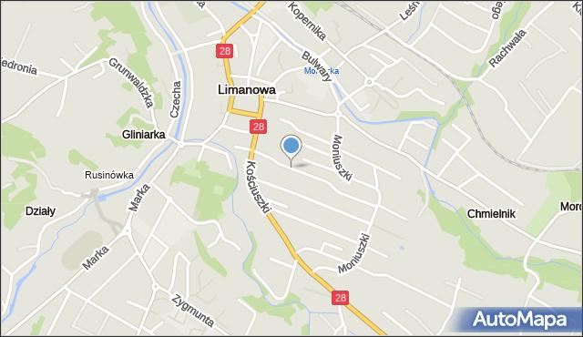 Limanowa, Ogrodowa, mapa Limanowa